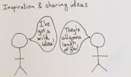 Two figures under a heading 'Inspiration and sharing ideas' with one figure saying 'I've got a wild idea!' and the other 'They're all gonna laugh at you!'